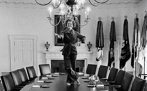 Betty Ford dancing on a table