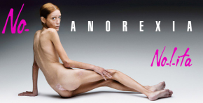 Isabelle Caro in her advertising campaign against anorexia