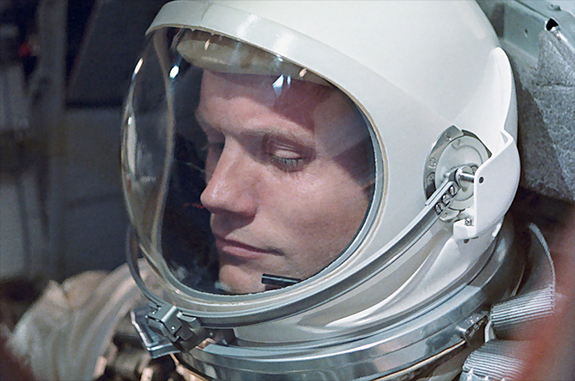 Neil Armstrong on the Gemini 8 in 1964