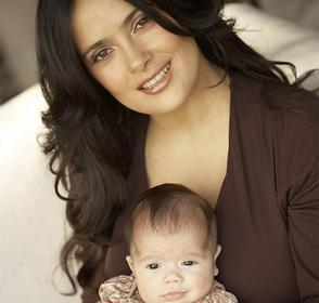 Salma Hayek with her baby daughter